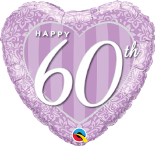 60th Anniversary Purple Foil Helium Balloon